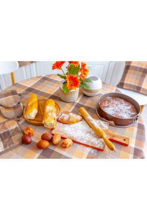 Салфетка на стол Toffee коричневая клеточка