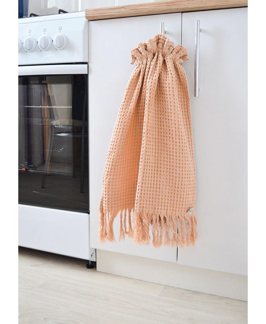 Вафельное полотенце MACADAMIA с бахромой